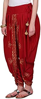 Nika Women's Cotton Hand Block Printed Dhoti Salwar by Kaanchie Nanggia (DH1383_Red_Freesize)