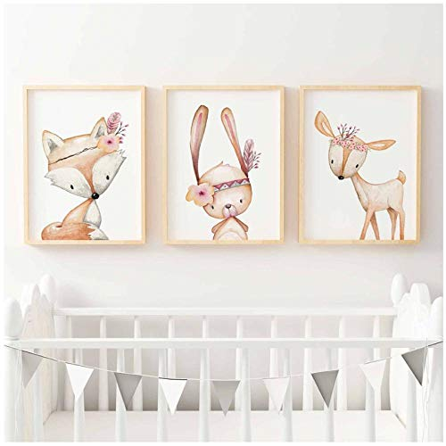 zhaoyangeng konijnenhertenkleuterschool, Noordse affiches en printen, muurkunst, beschilderd doek voor kinder- en meisjeskamerdecoratie, konijnenvos - 50X70Cmx3 oningelijst