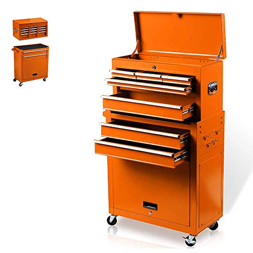 8-Drawer Rolling Tool Box, Rolling Tool Chest with Drawers and Wheels, Tool Storage Cabinet with 4 Swivel Wheels (2Pcs with Brake), Keyed Locking System Tool Organizer (Orange)