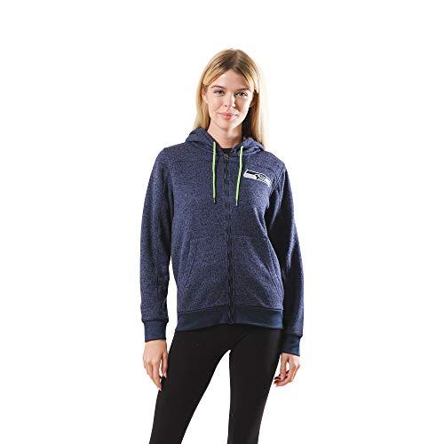 Ultra Game NFL Seattle Seahawks Womens Full Zip Fleece Hoodie Letterman Varsity Jacket Sweatshirt Marl Knit Jacket, Team Color, Large