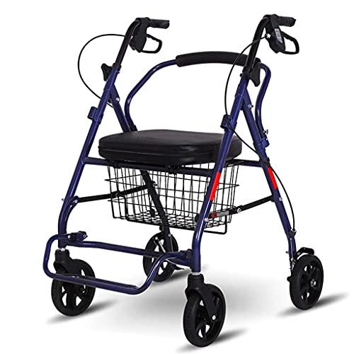 YANJ Los carros de la Compra Pueden Sentarse en los Ancianos para Comprar un Carrito de Comida Carrito Plegable Carrito al Aire Libre La Ayuda para Caminar de bastón de Cuatro Patas PUE