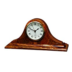 Designs by Marble Crafters Saffron Brown Onyx Mantel Clock
