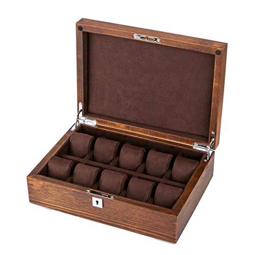 HAILIZI Caja de colección de relojes Caja de reloj de joyería de almacenamiento de madera reloj de la joyería Caja de almacenamiento con el bloqueo de la almohadilla de la muñeca Regalos de lujo for l