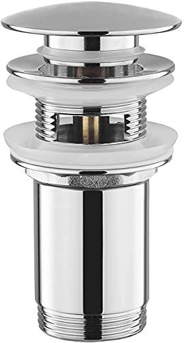Válvula de desagüe con rebosadero, universal, pop up, para lavabos y lavabos, válvula push-open, desagüe de latón Click-Clack