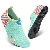 HEETA Barefoot Water Sports Shoes for Women Men Quick Dry Aqua Socks for Beach Pool Swim Yoga Light Blue M