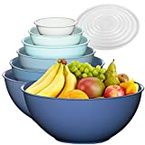 12 Piece Plastic Mixing Bowls Set, Colorful Nesting Bowls with Lids, 6 Prep Bowls and 6 Lids - Color Food Storage for Leftovers, Fruit, Salads, Snacks, and Potluck Dishes - Microwave and Freezer Safe
