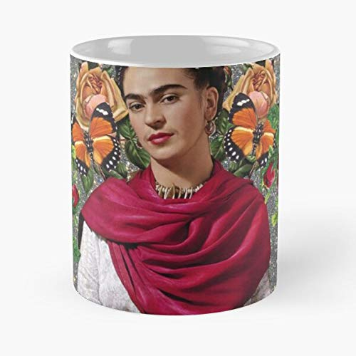 Frida Pop Art – Taza de café de cerámica blanca de color blanco