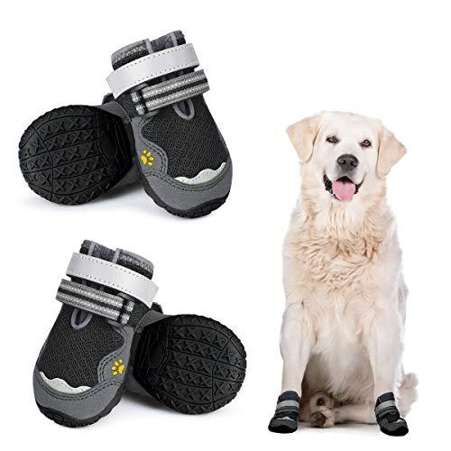 Dociote Anti-Rutsch Hundeschuhe Pfotenschutz mit verstellbarem & Reflektierendem Klettverschluss 4 Stück für mittelgroße große Hunde für Sommer Schwarz 6#