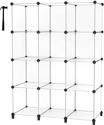 HOMIDEC 12-Cube Storage Shelf, Storage Bookcase Bookshelf with Metal Hammer, Storage Cubes Organizer Cabinet for Kids, Closet, Bedroom, Bathroom, (11.8x11.8x11.8 inch), Transparent