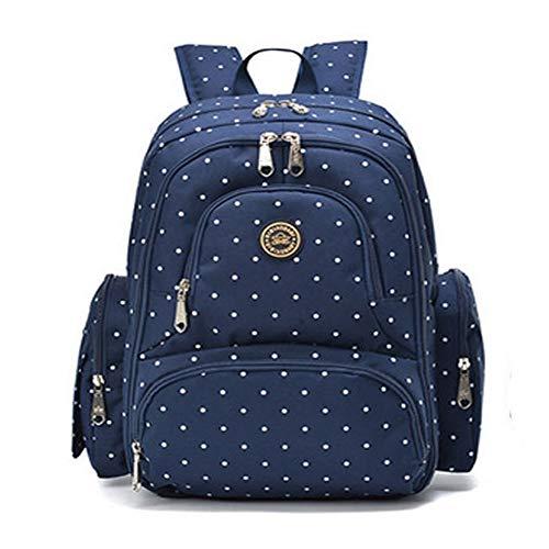 Nouveau modèle multifonction grand capacité avec deux sangles sac à dos à langer sac à dos rangers pour maman bébé poussette bébé voyage promenade (Bleu point)