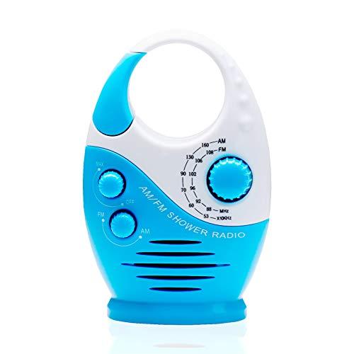 DeepRoar AM FM Portable Radio Hook Type Waterproof Broadcast Music Shower Speaker (Blue)