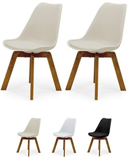 Tenzo Cleo 3241-354 2er-Set Designer Stühle, Holz, Warm Grey, 82 x 48 x 54 cm (Hxbxt), Kunststoffsitzschale mit Kunstledersitzkissen, Warm Grey/Eiche, Polypropylen