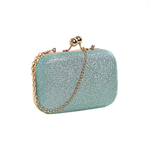 EDCV schoudertas partij vintage portemonnee ronde kop mini pailletten diner dames ketting, hemelsblauw