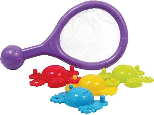 Playgro Badespielzeug Kescher mit 4 Steckförmchen, Ab 6 Monaten, Mehrfarbig, 40118