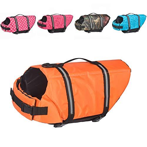 Doglay Dog Life Jacket with Reflective Stripes, Adjustable Dog Lifesaver Pet Life Preserver with...