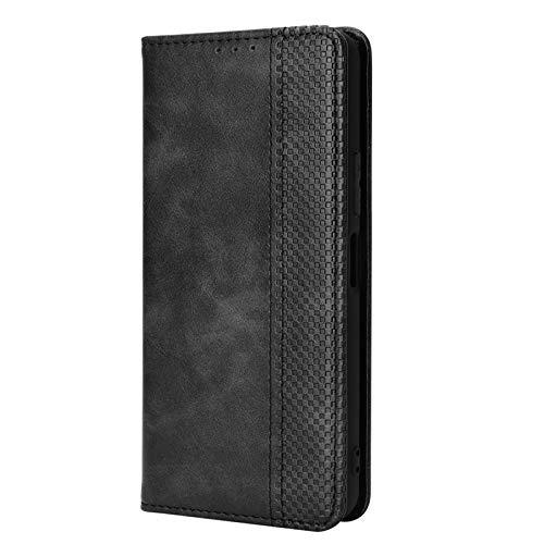 GOKEN Leder Folio Hülle für Oukitel C23 Pro, Lederhülle Brieftasche Mit Kartensteckplätzen, Premium Flip PU/TPU Handyhülle Schutzhülle Hülle Cover mit Ständer Funktion (Schwarz)