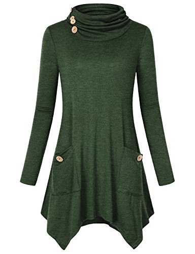 Pocket Tunic Top, Hibelle Womens Cowl Neck Fall Clothes Winter Shirts for Legging Designer Dressy Chic Stylish Pleated Soft Baggy Flowy Boutique Lightweight Trapeze Blouses Green L