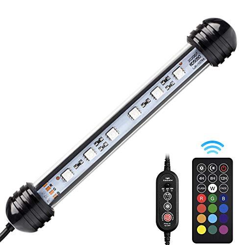 NICREW Éclairage LED Aquarium avec Télécommande, Lampe LED Submersible avec la Fonction Minuterie, Lumière LED Multicolore RGB pour Aquarium d'eau Douce