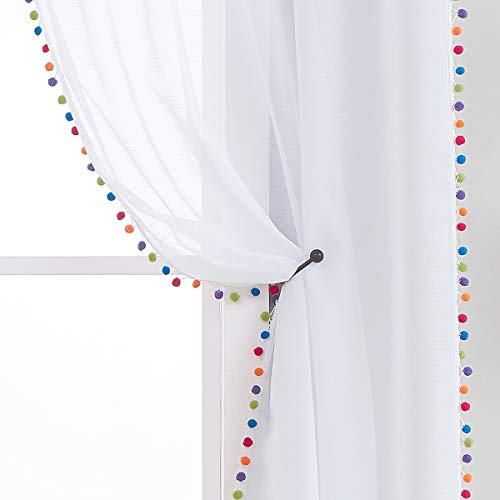 """Treatmentex Sheer White Curtains with Multi-Color Pom-Pom Sheer Curtains for Toddler 84"""" Long Linen Textured Decorative Nursery Room Window Drapes 52"""" w 1Pair"""