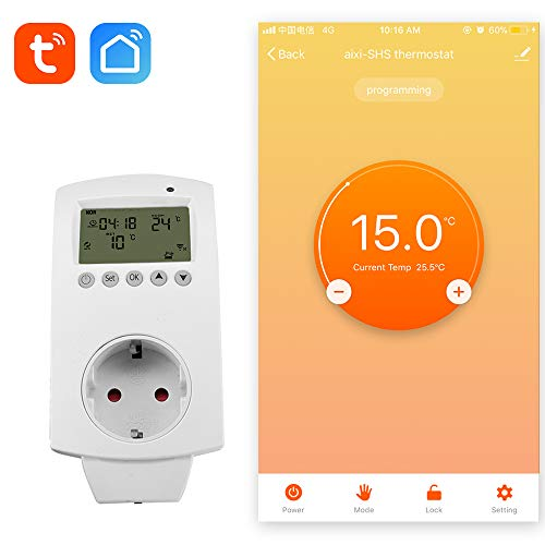 aixi-SHS Wireless Wi-Fi Plug termostato calefacción eléctrica Smart socket control de temperatura pantalla LED - Amazon Alexa echo/Google Home/IFTTT - TuyaSmart/Smart Life APP control