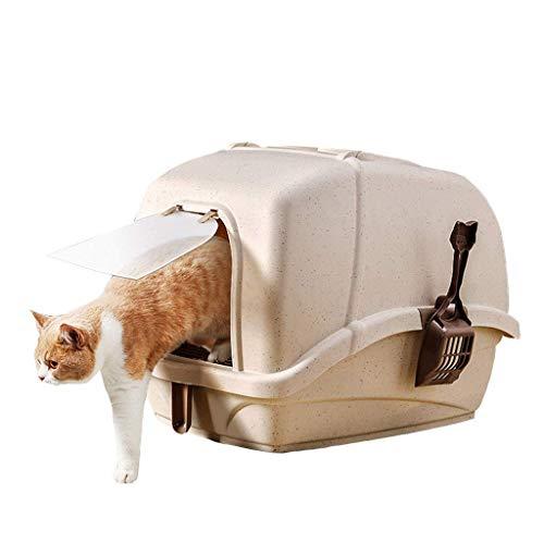 Kattenbak met deksel Easy Clean Cat Pan, volledig afgesloten Pet Toilet met schepte/Carry Handle/Flap Deur, Khaki-1 (Kleur: Roze, Maat: 1) 8bayfa (Color : Brown, Size : 1)