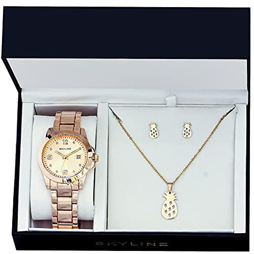 SKYLINE, Conjunto de Reloj para Mujer, Reloj de Pulsera, Collar y Pendientes con Diseño de Piñas, Acero Inoxidable, Cumpleaños, Aniversario, etc, Oro Rosa