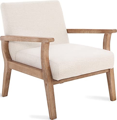 Mid-Century Armchair with Wood Frames, White Linen Upholstered Farmhouse Living Room Chair, for Living Room Bedroom, Ivory