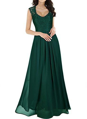 MIUSOL Damen Ärmellos V-Ausschnitt Spitzenkleid Brautjungfer Cocktailkleid Chiffon Faltenrock Langes Kleid Grün M