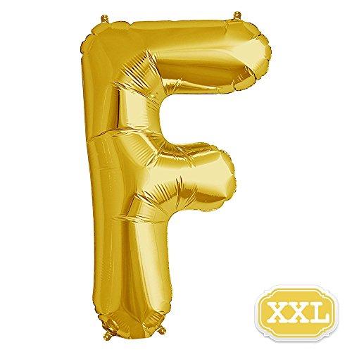 XXL Folienballon Buchstaben Gold [ ca.100cm ] , Buchstaben ballon für Geburtstag Jubiläum & Party Geschenk Dekoration Folienballons Luftballons Zahl ballon Happy Hochzeit Birthday [ A ~ Z ] (GOLD[F])