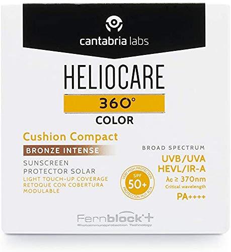 Heliocare 360º Color Cushion Compact SPF 50+ - Fotoprotección Avanzada con Color, para la Reaplicación y el Retoque, Formato Cushion, Ligera, Bronze Intense, 15gr (16726)