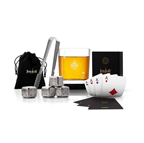 JoyJolt Poker Whiskey Glass Set - Jack of Spades Semi Square Rocks Glass Tumbler, 4x Dice Whiskey Stones, Dice Bag, Playing Cards Deck, Mini Tongs for Reusable Ice Cubes. Cool Whiskey Gifts for Men