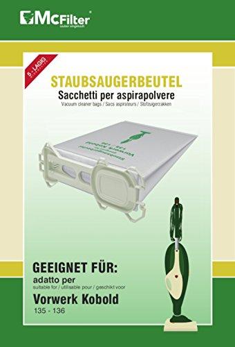 18 Staubsaugerbeutel geeignet für Vorwerk Kobold 135, 136, 135SC, VK 135 und VK 136 Staubsauger, 5-lagiger Staubbeutel aus Vlies, Beutel-Typ VO 8335 mit Hygieneverschluss