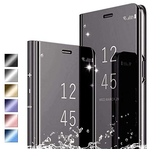 Hikissny Funda iPhone 12 Pro MAX 6.7' Cáscara, Ultra Delgado Inteligente Espejo Brillante Funda [Soporte Plegable] [Anti-Scratch] Flip Caso Clear View Case Cover para iPhone 12 Pro MAX 6.7', Negro
