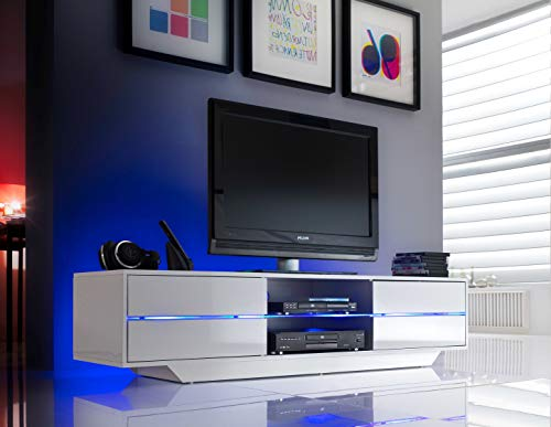 Robas Lund Lowboard Weiß Hochglanz TV Möbel mit LED Farbwechselbeleuchtung