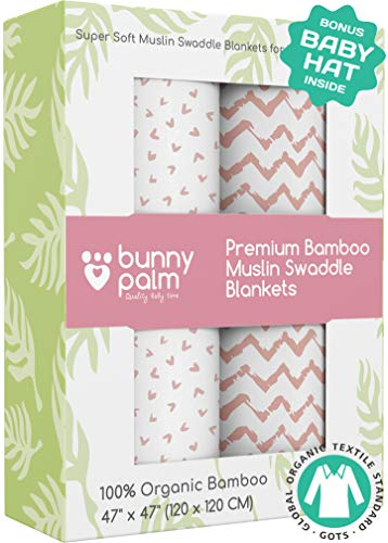 Muslin Swaddle Blankets - Organic Bamboo Set of 2 Baby Blanket