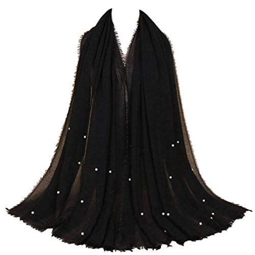 LMVERNA Women Wrinkle Cotton Beads Scarves Solid Color Warm Crinkle Scarf Fashion Soft Shawl and Wrap (Black)