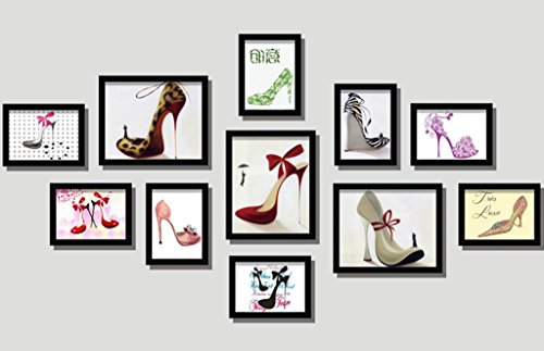 ZGP Home@Wall photo frame Shoe Shop Paintings High Heels Shopping Mall Clothing Store Window Design Solid Wood Photo Wall Decorative Painting Abstract Mural Photo Frame (Color : C)