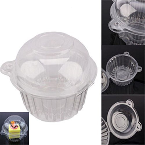 GOTOTOP Cake Boxes-100 pcsClear Plastic Single Cup Cake Boxes Holder Muffin Case Patty Container Cupcake Carriers Baking Cups