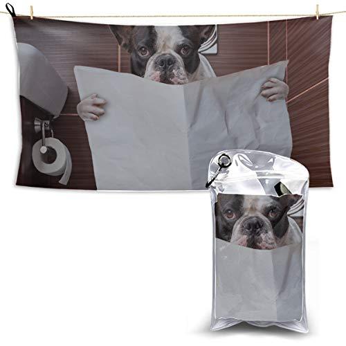 Toilet Bulldog Watch Newspaper Microfiber Travel Towel Travel Towels Microfiber Sports Towels For Kids Lightweight Towels Quick Dry 27.5'' X 51''(70 X 130cm)best For Gym Travel Camp Yoga Fitnes