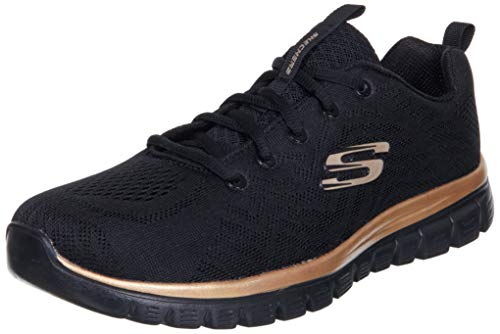 Skechers Damen Graceful Get Connected Sneaker, Schwarz, 24.5 EU