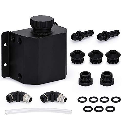 Super1Six Universal 1L Aleación Aluminio Motor Aceite Captura de Aceite Tanque de ventilación Radiador Desbordamiento Tanque Tanque de Combustible (Color : Black)