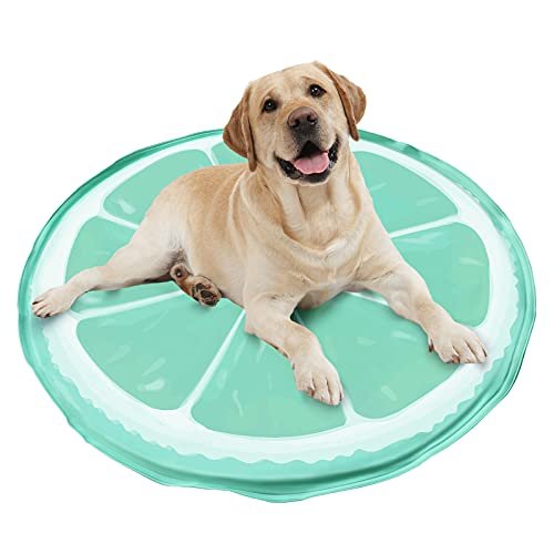 GoPetee Alfombrilla de Refrigeración para Mascotas Cama de Perro y Gato para Verano Animales Manta de Dormir Fresco Cojín,Almohadilla de enfriamiento automátic (60*60cm, limón)