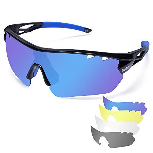 DOVAVA Fahrradbrille Sportbrille Herren Damen Polarisierte, RadsportbrillenUV400 Schutz mit 4 Wechselobjektiven für Radfahren Klettern Laufen Outdoor-Sport (Schwarz/Blau)