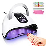 120w Led Nail Lamp, Liaboe Gel Light, LED Gel Nail Lamp 4 Time Setting UV Led Nail Light Curing Nail Dryer for Gel Nails with LCD Screen (White)