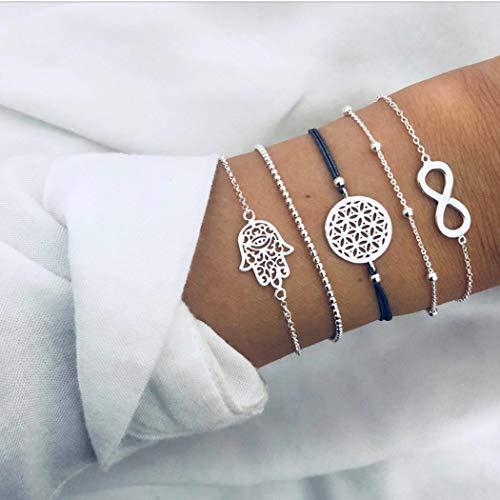 Simsly Juego de 5 pulseras de mano de plata con cuentas de plata de la suerte, accesorios de mano para mujeres y niñas