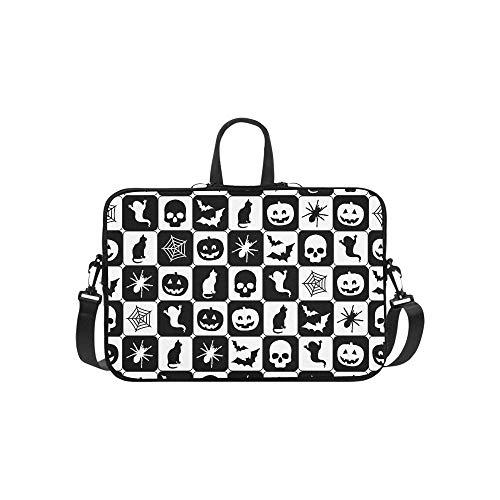 Schwarz Weiß Halloween Ausschnitt Aktentasche Laptoptasche Messenger Schulter Arbeitstasche Crossbody Handtasche Für Geschäftsreisen