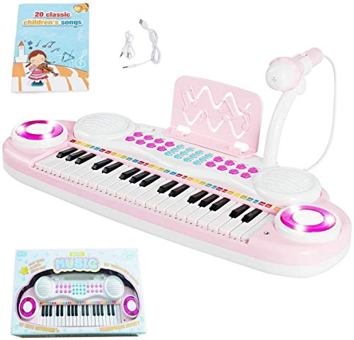 Costzon 37 Keys Electronic Keyboard Piano for Kids, Portable Musical Keyboard with Rhythm Light, Microphone, Recording, Music Stand, 8 Tone Keys, 4 Percussion Instruments (Pink)