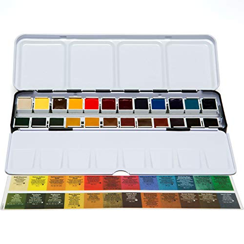 Daniel Smith Extra Fine Watercolor Half Pan Set, 24 colors with bonus 24 empty half pans in a metal box (285650113)