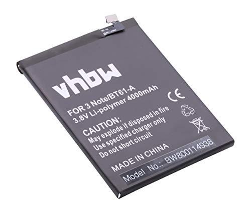 vhbw Litio polímero batería 4000mAh (3.85V) para móvil Smartphone teléfono Meizu M3 Note