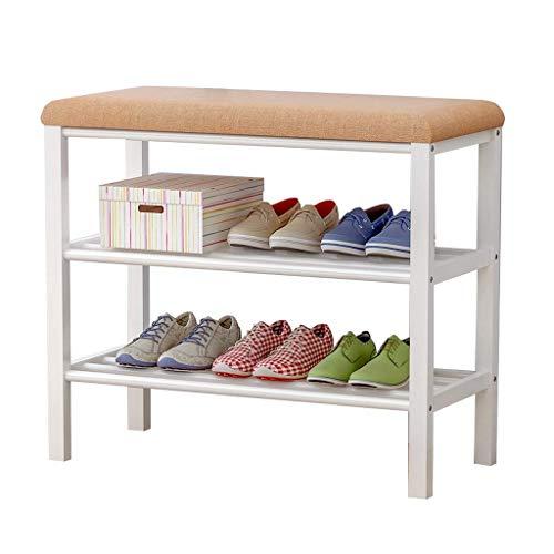 HLL Zapateros Banco de Zapatos de Metal con Asiento de Esponja 3-4 Pares Estante de Almacenamiento de Zapatos Taburetes Pequeños Minimalistas Modernos, 2 Niveles, 603050 Almacenamiento de Zapatos de